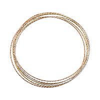14k Gold Over Silver & Sterling Silver Tri-Tone Interlocking Bangle Bracelet