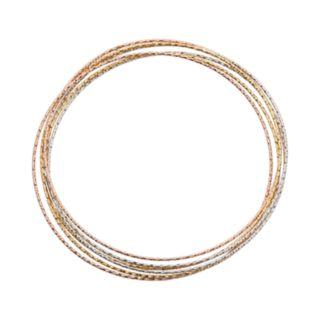 14k Gold Over Silver and Sterling Silver Tri-Tone Interlocking Bangle Bracelet