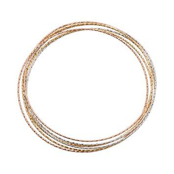 14k Gold Over Silver & Sterling Silver Tri-Tone Interlocking Bangle Bracelet