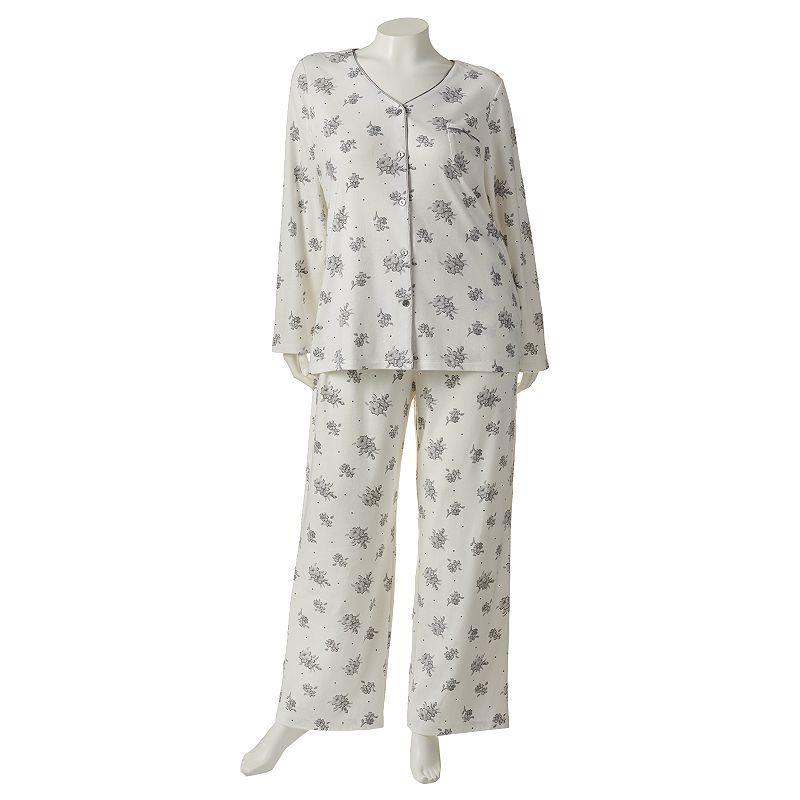 Croft & Barrow Pajamas: Printed Satin-Trim Knit Pajama Gift Set - Women's Plus Size