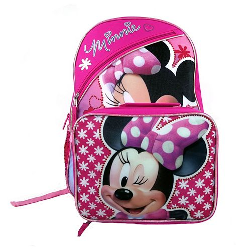 Disney Mickey Mouse Friends Minnie Backpack Lunch Bag Set Kids