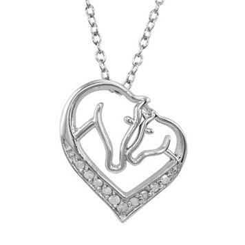 Sterling Silver 1/10-ct. T.W. Diamond Horse Heart Pendant