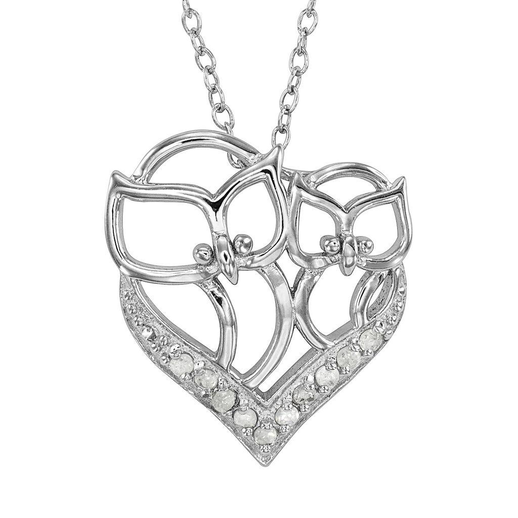 Sterling Silver 1/10-ct. T.W. Diamond Owl Heart Pendant