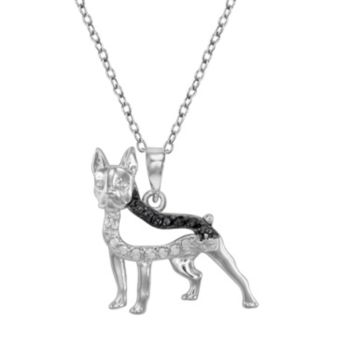 Sterling Silver 1/10-ct. T.W. Black and White Diamond Boston Terrier Dog Pendant