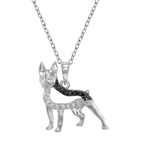 Sterling Silver 1/10-ct. T.W. Black and White Diamond Boston Terrier Dog Pendant