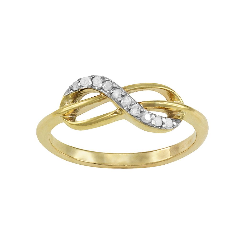 14k Gold Over Silver 1/10-ct. T.W. Diamond Infinity Ring