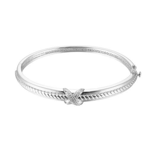 Sterling Silver Diamond Accent X Bangle Bracelet