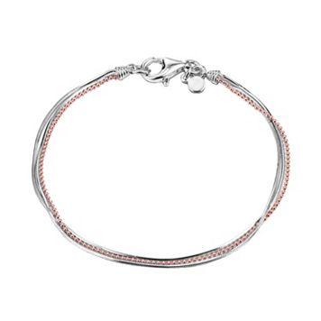 18k Rose Gold Over Silver & Sterling Silver Multistrand Bracelet