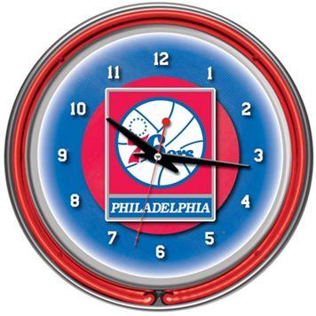 Philadelphia 76ers Chrome Double-Ring Neon Wall Clock