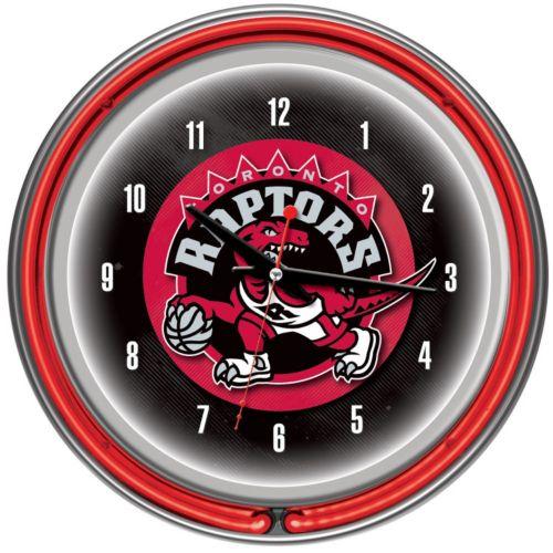 Toronto Raptors Chrome Double-Ring Neon Wall Clock