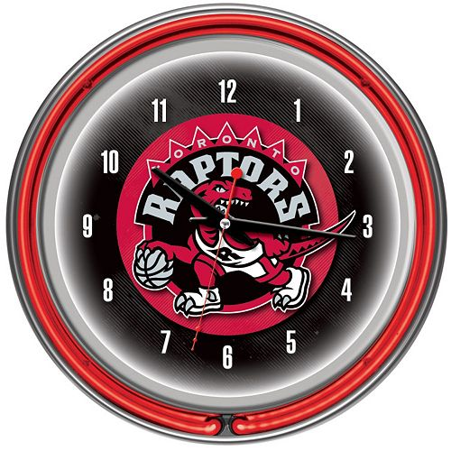 Toronto Raptors Chrome Double-Ring Neon Wall Clock
