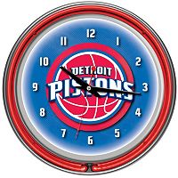 Detroit Pistons Chrome Double-Ring Neon Wall Clock