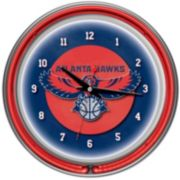 Atlanta Hawks Chrome Double-Ring Neon Wall Clock
