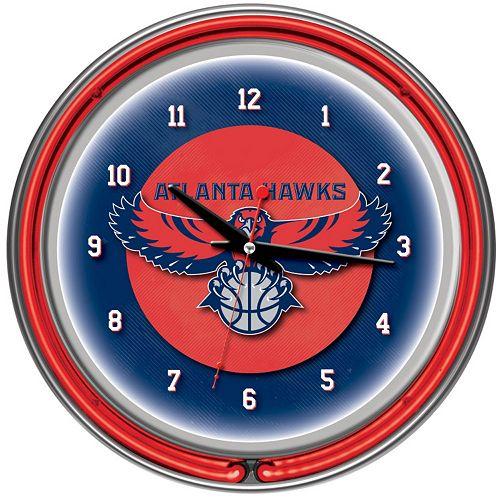 Atlanta Hawks Chrome Double-Ring Neon Wall Clock