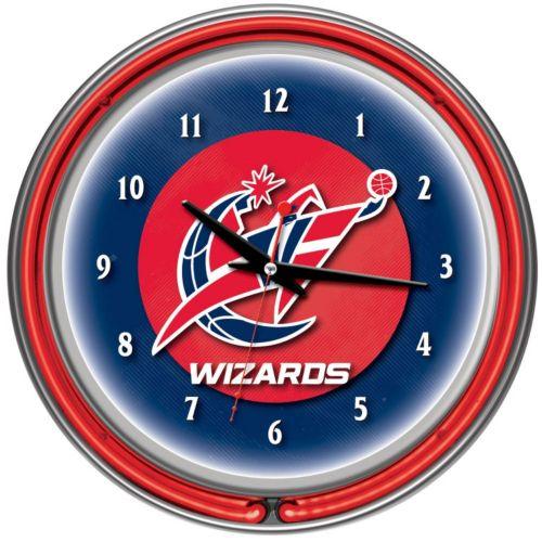 Washington Wizards Chrome Double-Ring Neon Wall Clock