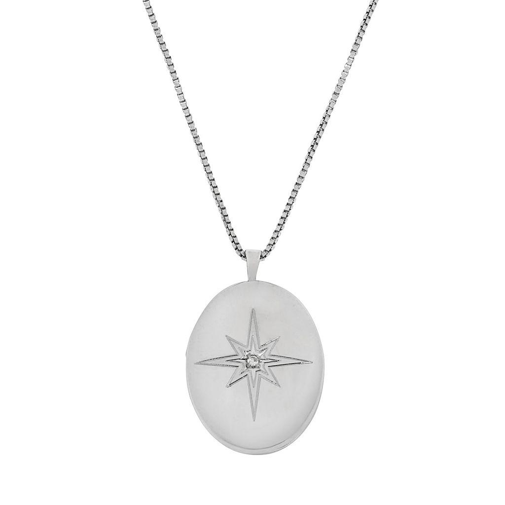 Sterling Silver 1/10-ct. T.W. Diamond Starburst Locket