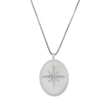 Sterling Silver 1/10-ct. T.W. Diamond Starburst Locket