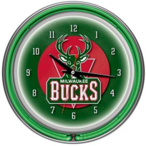 Milwaukee Bucks Chrome Double-Ring Neon Wall Clock