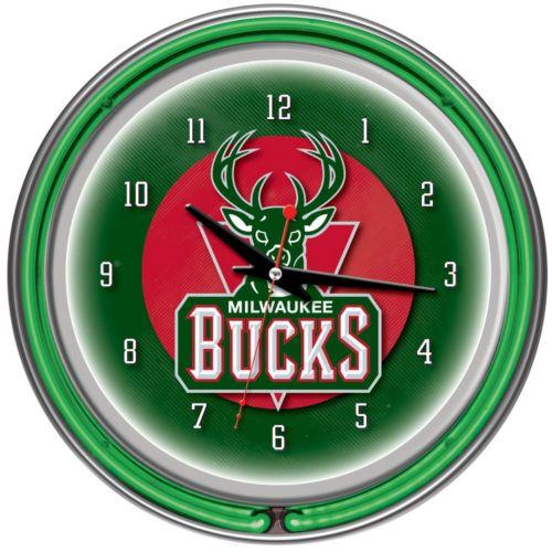Milwaukee Bucks Chrome Double-Ring Neon Wall Clock
