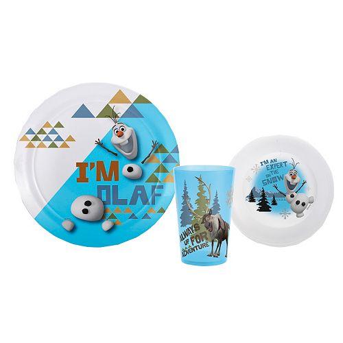 Zak Designs Disney Frozen Olaf & Sven 3-pc. Melamine Kid's Place Setting