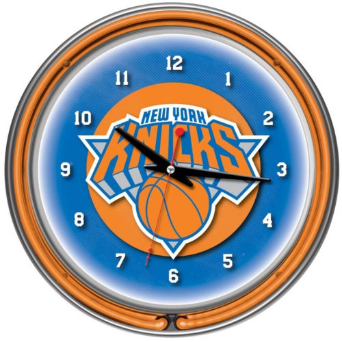 New York Knicks Chrome Double-Ring Neon Wall Clock