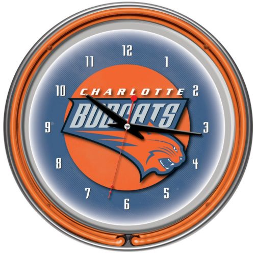 Charlotte Bobcats Chrome Double-Ring Neon Wall Clock