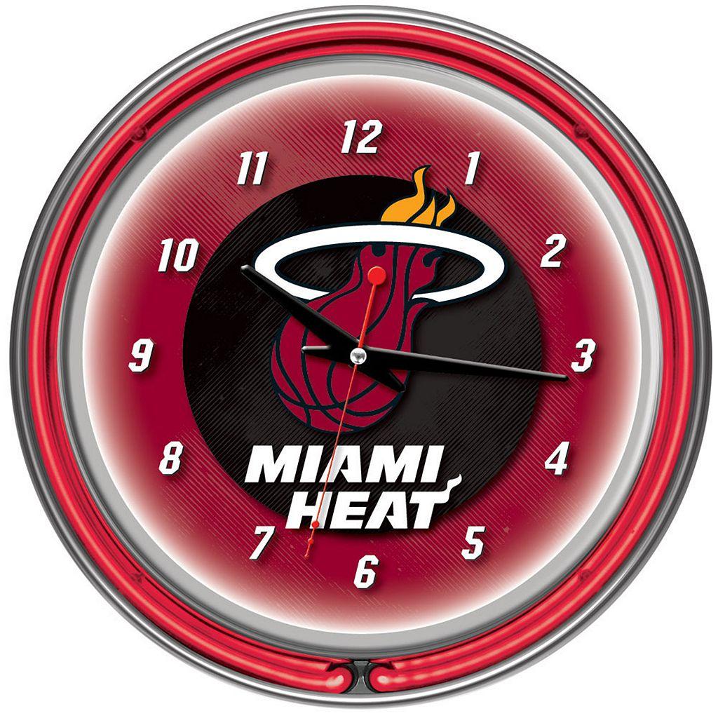 Miami Heat Chrome Double-Ring Neon Wall Clock