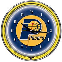 Indiana Pacers Chrome Double-Ring Neon Wall Clock