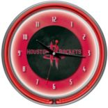 Houston Rockets Chrome Double-Ring Neon Wall Clock