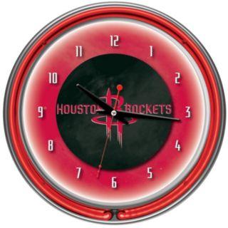 Houston Rockets Chrome Double-Ring Neon Wall Clock