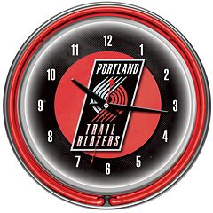 Portland Trail Blazers Chrome Double-Ring Neon Wall Clock