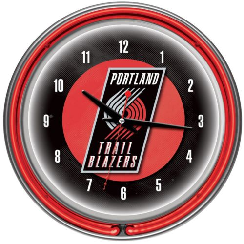 Portland Trail Blazers Chrome Double-Ring Neon Wall Clock