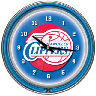 Los Angeles Clippers Chrome Double-Ring Neon Wall Clock