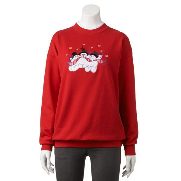 Mccc Snowman Embellished Holiday Sweatshirt Women S