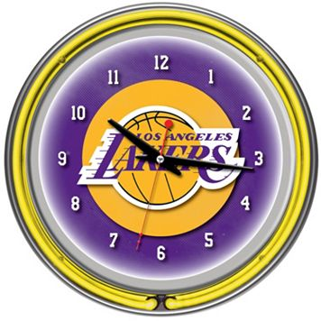 Los Angeles Lakers Chrome Double-Ring Neon Wall Clock