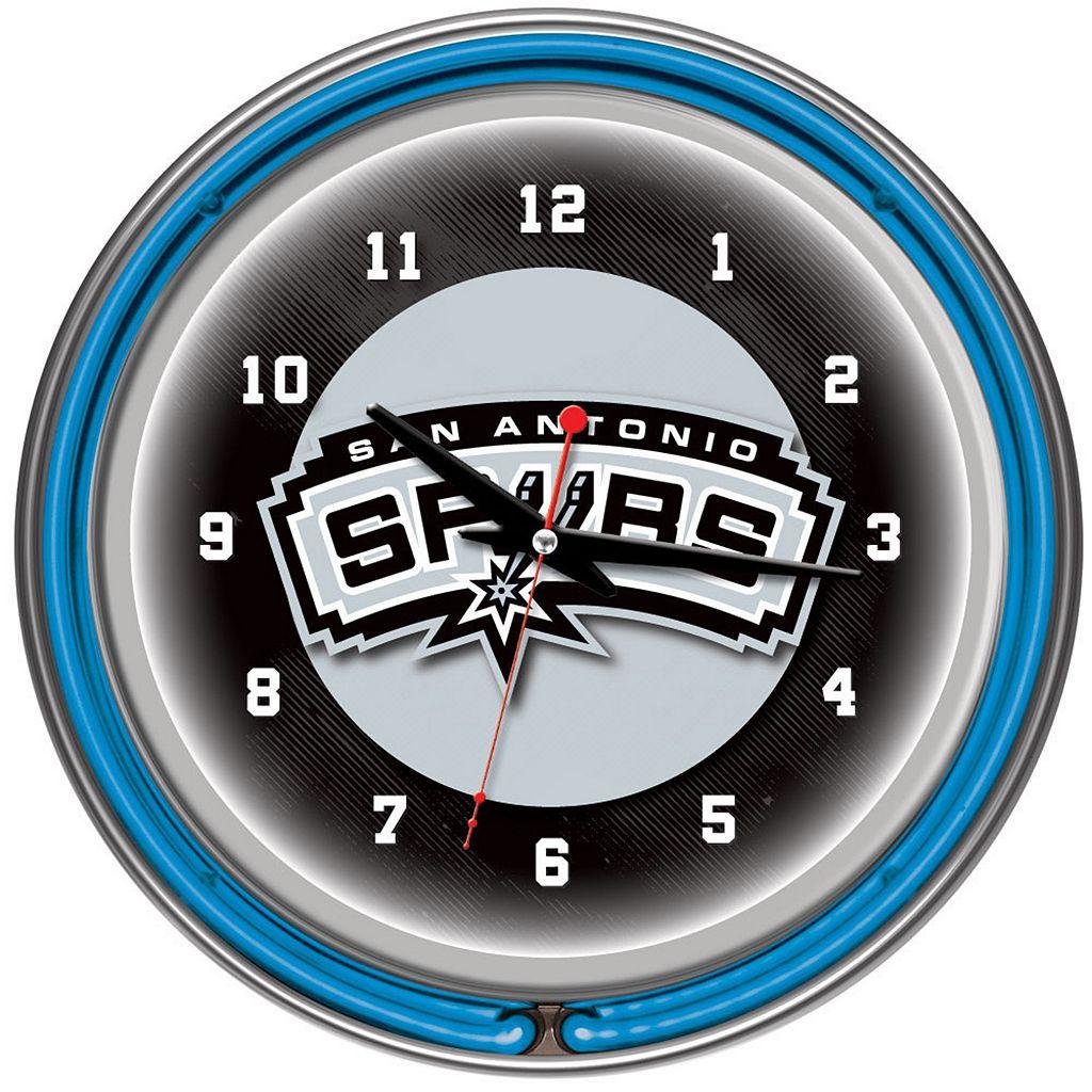 San Antonio Spurs Chrome Double-Ring Neon Wall Clock