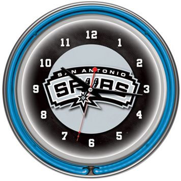 San Antonio Spurs Chrome Double-Ring Neon Wall Clock