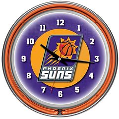 Phoenix Suns Chrome Double-Ring Neon Wall Clock