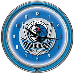 Dallas Mavericks Chrome Double-Ring Neon Wall Clock