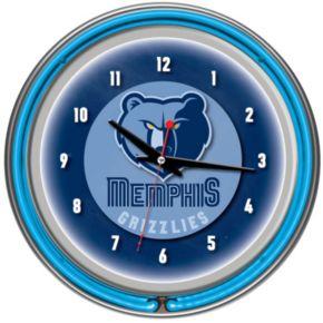 Memphis Grizzlies Chrome Double-Ring Neon Wall Clock