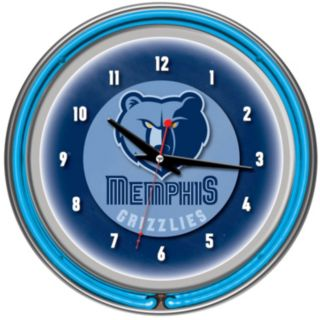 Memphis Grizzlies Chrome Double-Ring Neon Wall Clock