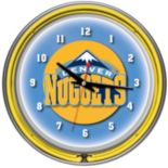 Denver Nuggets Chrome Double-Ring Neon Wall Clock