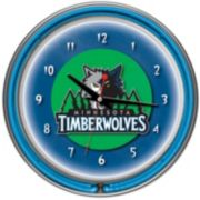 Minnesota Timberwolves Chrome Double-Ring Neon Wall Clock