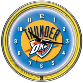 Oklahoma City Thunder Chrome Double-Ring Neon Wall Clock