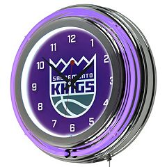 Sacramento Kings Chrome Double-Ring Neon Wall Clock