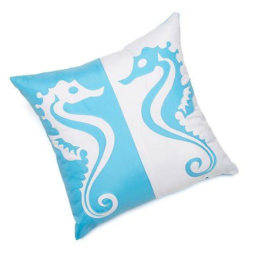 Edie Inc. Twin Seahorse Laser-Cut Indoor Outdoor Decorative Pillow