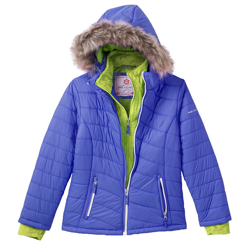 Free Country Puffer Jacket - Girls 7-16 (Blue)