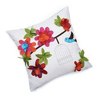 Edie, Inc. Floral Bird Cage Indoor Outdoor Decorative Pillow