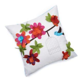 Edie Inc. Floral Bird Cage Indoor Outdoor Decorative Pillow