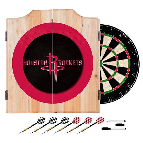 Houston Rockets Wood Dart Cabinet Set